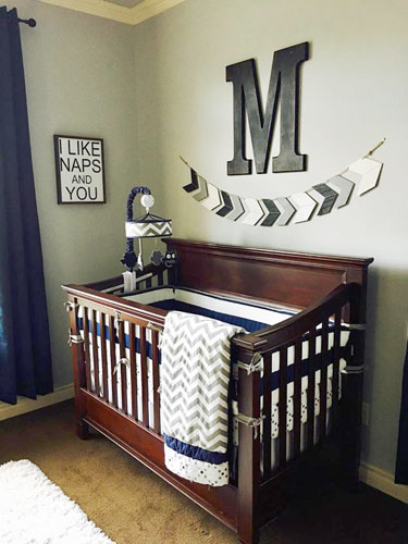 We Love How The Chevron Theme Is Used In Nursery From Wooden Arrow Wall Hanging And Continues To Crib Bedding Gray Navy Colors Mix